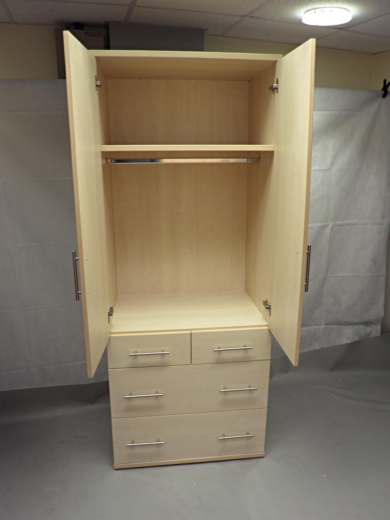 Canadian Maple Wooden Wardrobe With Heavy Duty Drawers And