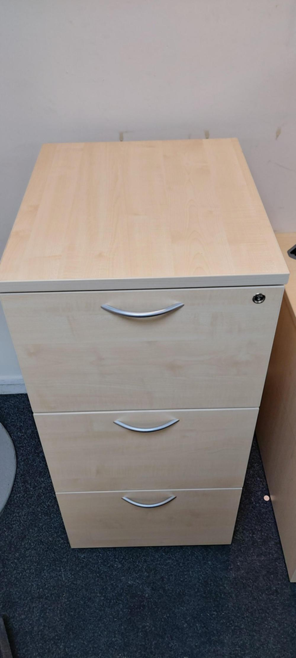 3 Drawer Maple Filing Cabinet