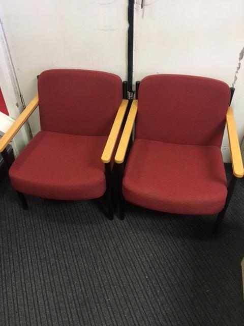 Pair Of Low Level Reception Chairs In Red Fabric